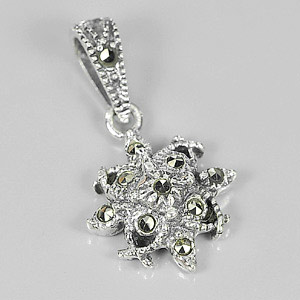 1.88 G. Charming Black Marcasite 925 Silver Jewelry Pendent