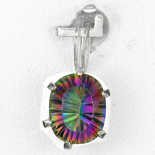 2.50 Ct. Oval Natura Rainbow Topaz 925 Silver Jewelry Pendent