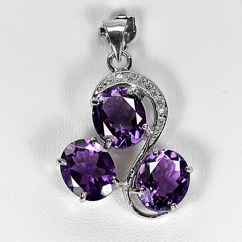 6.81 G. Natural Gems Purple Amethyst Real 925 Silver Jewelry Pendant Alluring
