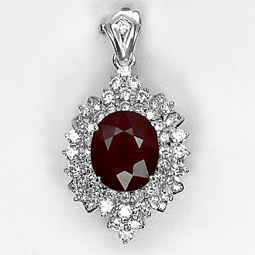 10.15 G. Natural Gemstone Oval Red Ruby Real 925 Sterling Silver Jewelry Pendant