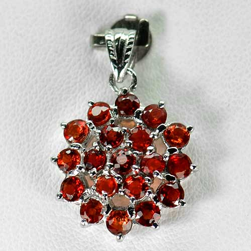 2.59 G. Natural Reddish Orange Songea Sapphire Real 925 Sterling Silver Pendant