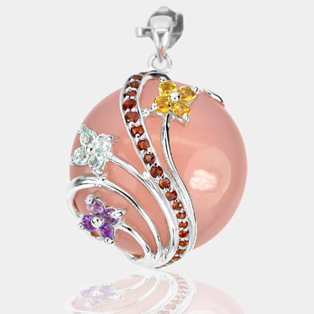 17.35 G. Natural Rose Quartz Citrine Topaz Amethyst 925 Sterling Silver Pendant