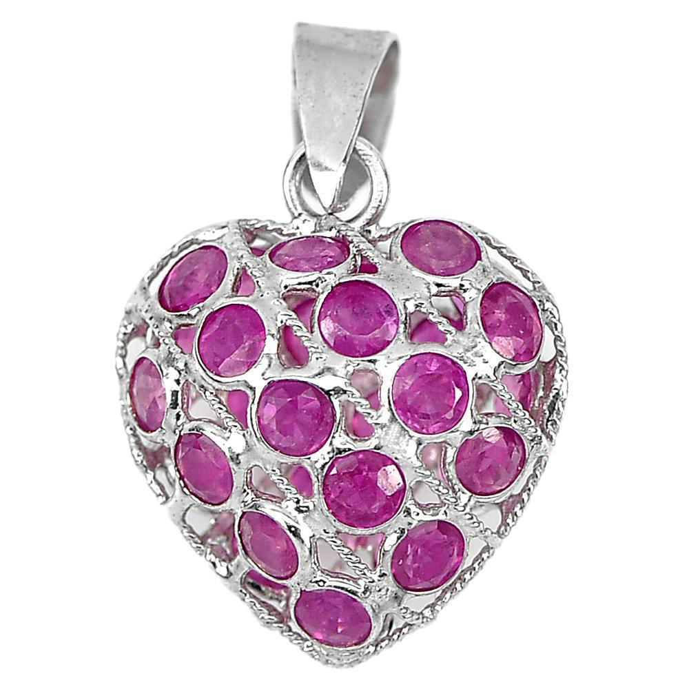 0.78 G. Natural Gemstone Red Ruby Real 925 Sterling Silver Jewelry Pendant