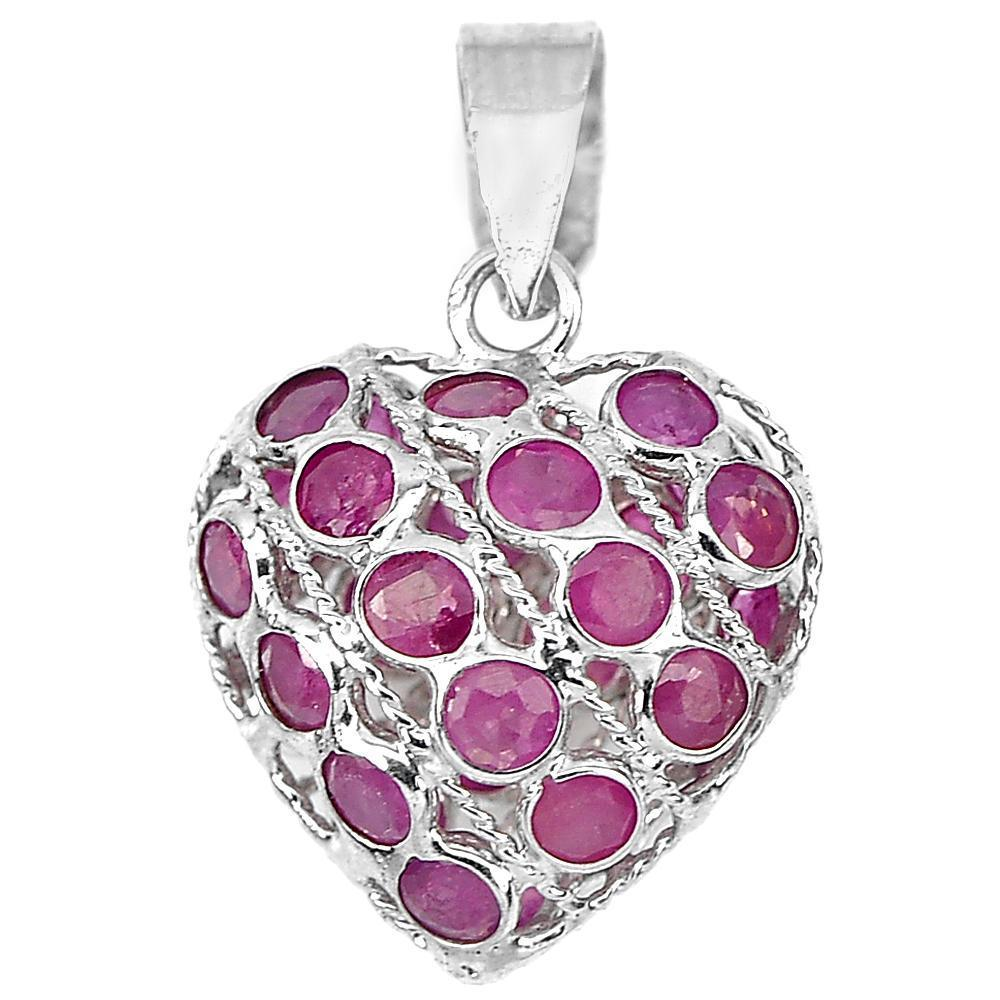 0.90 G. Natural Gemstone Red Ruby Real 925 Sterling Silver Jewelry Pendant