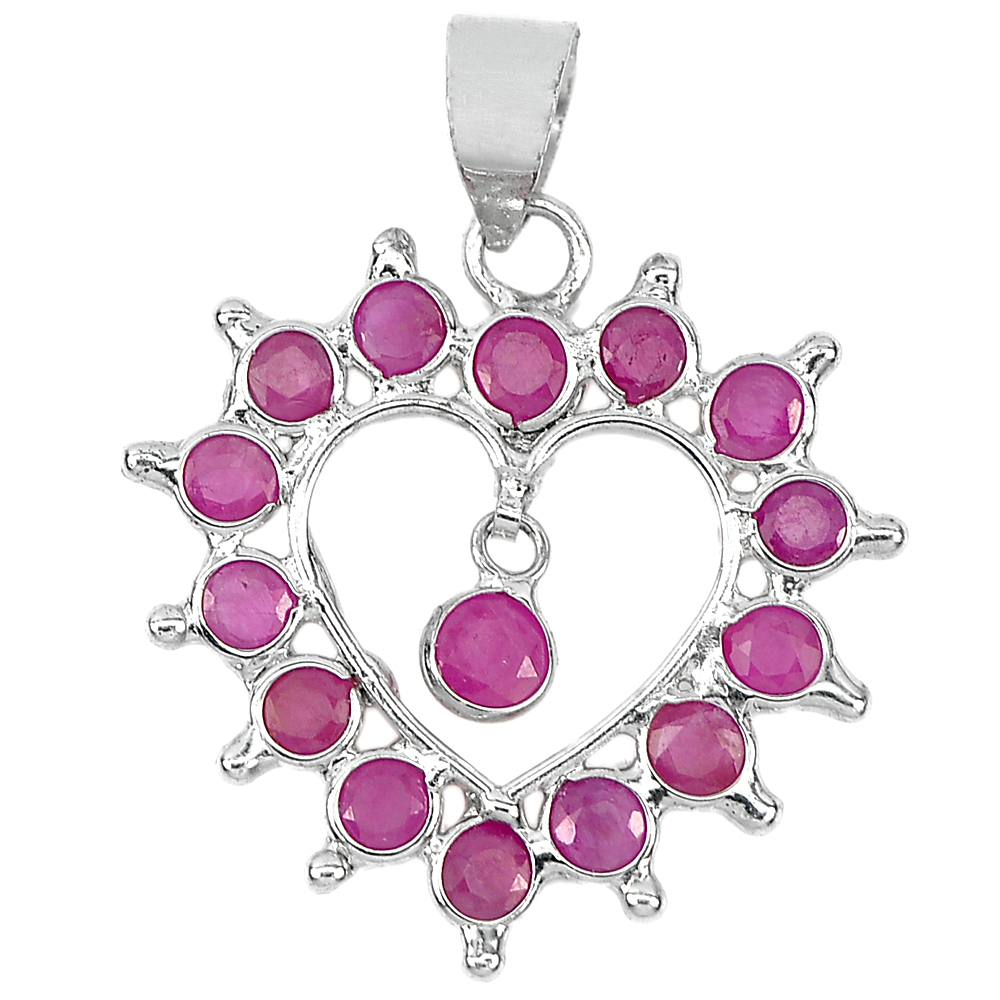 0.66 G. Real 925 Sterling Silver Jewelry Pendant Good Natural Gemstone Red Ruby