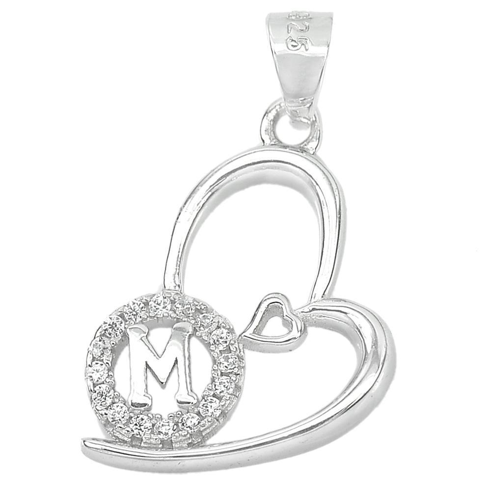 1.20 G. Good Letter M Design With CZ Real 925 Sterling Silver Jewelry Pendant