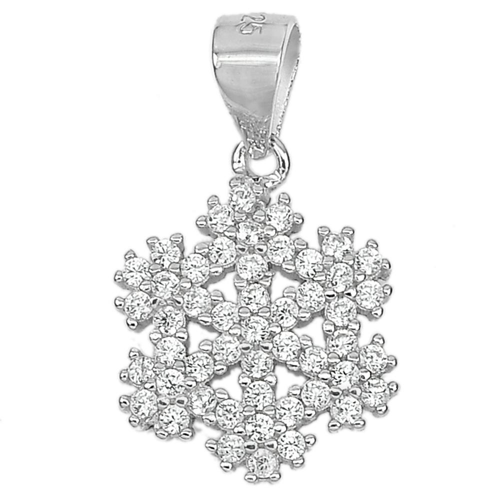 1.24 G. Lovely Round White CZ Real 925 Sterling Silver Fine Jewelry Pendant