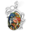 10.39 G. Murano Lampwork Art Glass Beaded Frog Pendant Real 925 Sterling Silver