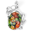 10.51 G. Murano Lampwork Art Glass Beaded Frog Pendant Real 925 Sterling Silver