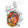 10.47 G. Murano Lampwork Art Glass Beaded Frog Pendant Real 925 Sterling Silver