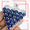 175.32 G. Round Shape Natural Gem Blue Sapphire Sterling Silver Pendant Brooch