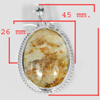 13.21 G. Oval Cabochon Natural Gemstone Quartz Nickle Silver Plated Pendant