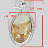10.96 G. Oval Cabochon Natural Gemstone Quartz Nickle Silver Plated Pendant