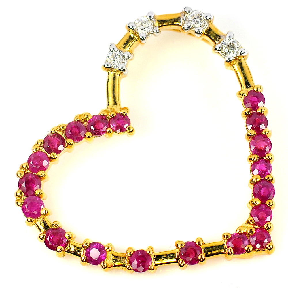1.80 ct. Natural RUBY & DIAMOND 14K Solid Gold Pendant