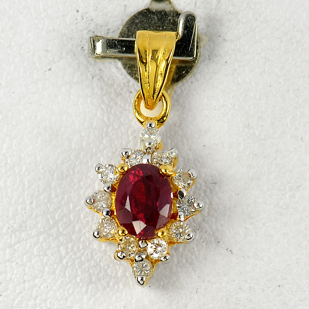 0.53ct. Natural Red RUBY & DIAMOND 14K Solid Gold Pendant