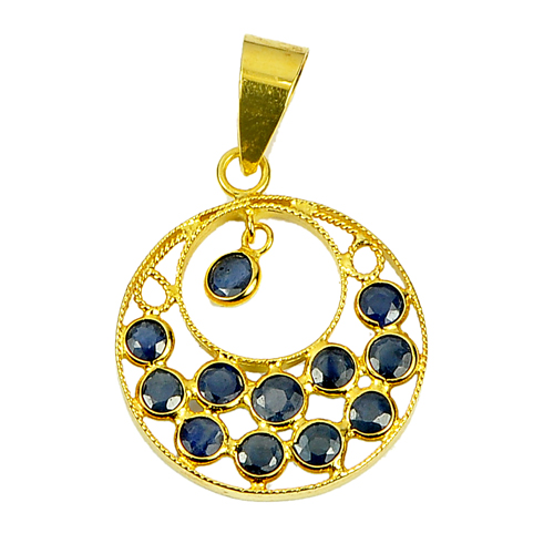 0.68 Ct. Round Shape Natural Gemstones Blue Sapphire 18K Gold Jewelry Pendant