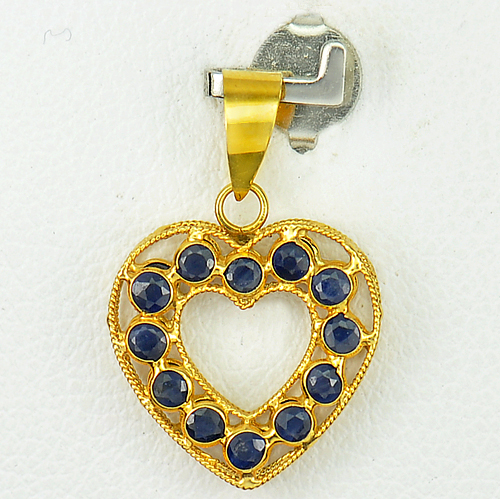 1.04 Ct. Natural Sapphire 18K Solid Gold Jewelry heart Pendant