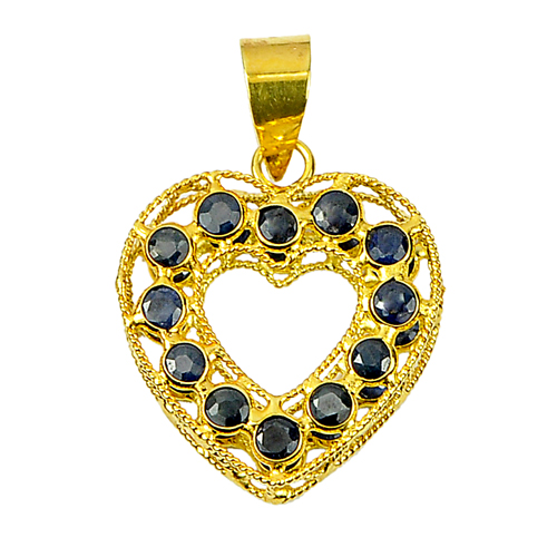 1.04 Ct. Natural Gemstone Blue Sapphire 18K Gold Jewelry Heart Pendant