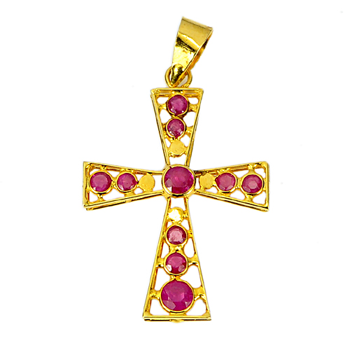 Natural Gemstones Purplish Red Ruby 18K Solid Gold Jewelry Cross Pendant