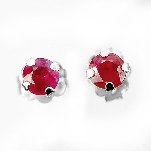 Natural Purplish Red Ruby 10k Solid Gold Jewelry Earring