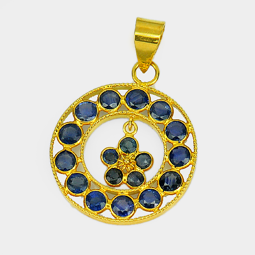 1.17 Ct. Natural Blue Sapphire 18k Solid Gold Jewelry Pendant