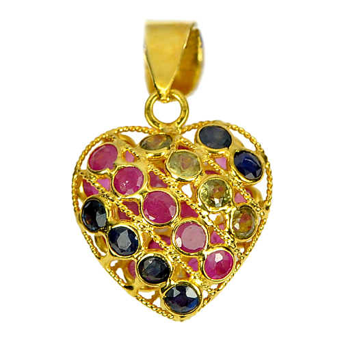 0.57 G. Charming 18k Gold Jewelry Fancy Sapphire Pendant