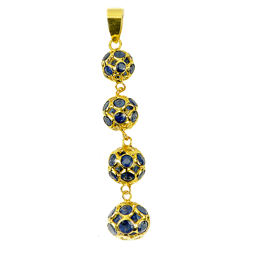3.29 Ct. Natural Blue Sapphire 18k Solid Gold Jewelry Pendant