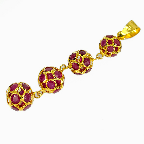 18k Solid Gold Jewelry 3.29 Ct. Natural Gemstones Purplish Red Ruby Pendant