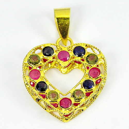 1.80 Ct. Natural Sapphire and Ruby 18k Gold Jewelry Heart Pendant