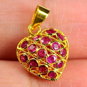 1.80 Ct. Natural Purplish Red Ruby 18k Gold Jewelry Heart Pendant