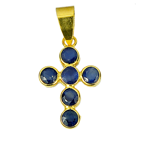 Round Shape Natural Gemstones Blue Sapphire 18K Solid Gold Jewelry Cross Pendant