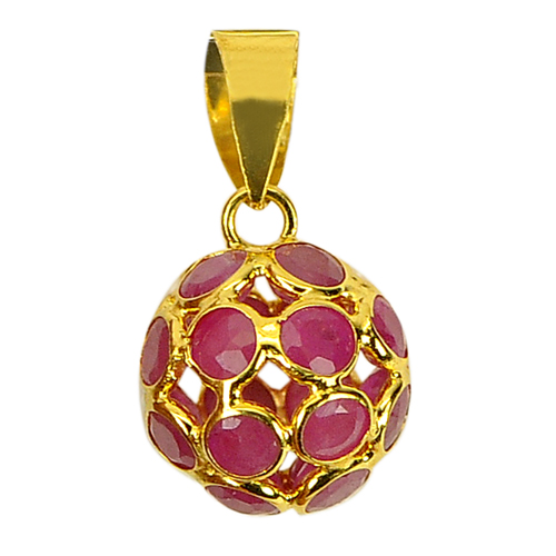 1.78 Ct. Good Natural Purplish Red Ruby 18k Gold Jewelry Pendant