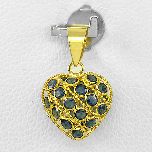 0.59 Ct. Round Shape Natural Gemstones Blue Sapphire 18k Gold Jewelry Pendant
