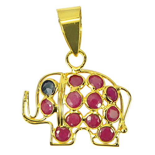 Attractive Gemstone Natural Purplish Red Ruby 18k Gold Jewelry Elephant Pendant