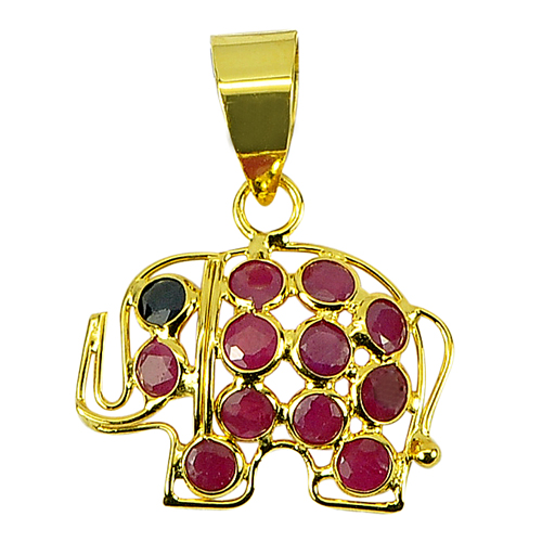 Alluring Gemstone 18k Gold Jewelry Elephant Pendant Natural Purplish Red Ruby