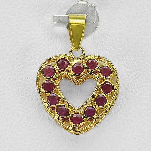 18k Solid Gold Jewelry Heart Pendant 1.04 Ct. Natural Gemstone Purplish Red Ruby