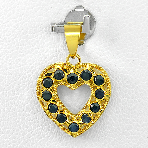 1.04 Ct. Size 1.5 Mm. 24 Pcs. Natural Blue Sapphire 18k Gold Jewelry Pendant