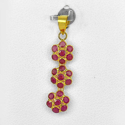 18k Gold Jewelry Pendant Natural Purplish Red Ruby 1.78 Ct.