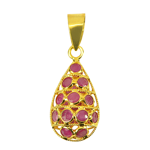 1.07 Ct. Natural Gemstones Pink Red Ruby Beautiful 18k Gold Jewelry Pendant