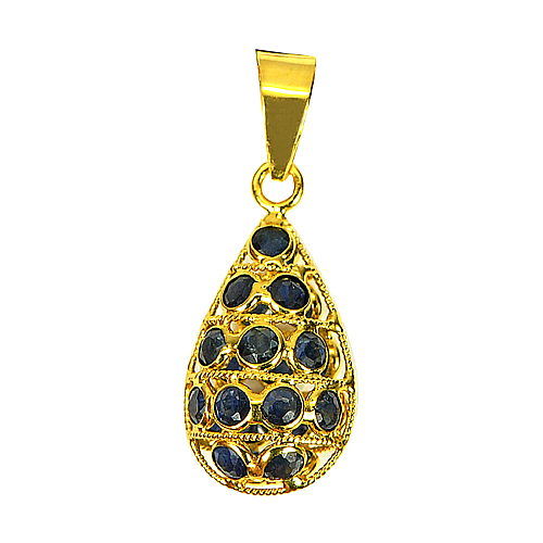 1.07 Ct. Natural Blue Sapphire 18k Gold Jewelry Pendant