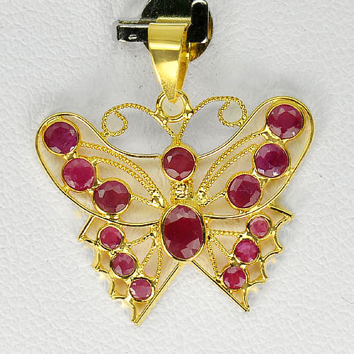 1.00 G. Natural Purplish Red Ruby 18K Yellow Gold Jewelry Butterfly Pendant