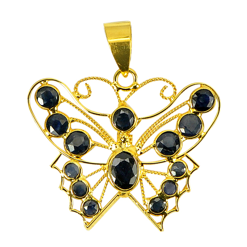 1.10 Ct. Natural Gemstones Blue Sapphire 18k Gold Jewelry Pendant