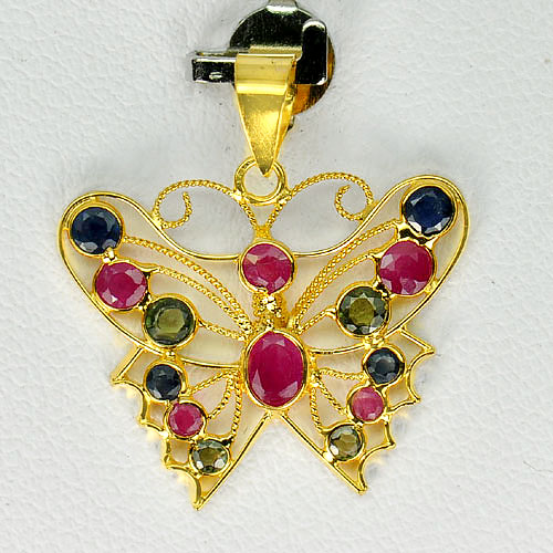 1.05 G. Natural Ruby And Sapphire 18K Yellow Gold Jewelry Butterfly Pendant