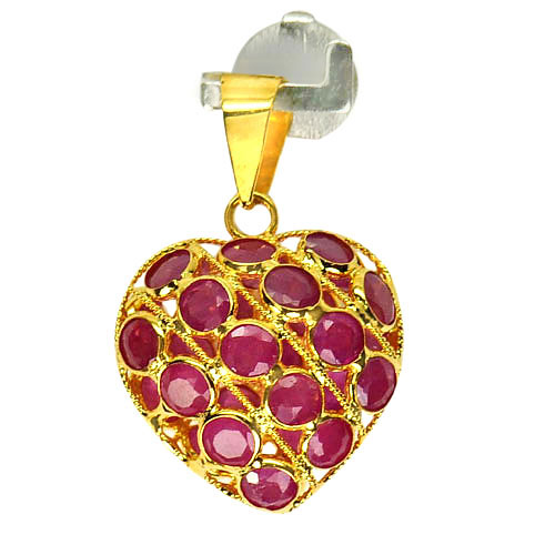 Charming 1.02 G. Natural Purplish Red Ruby 18K Gold Jewelry Heart Pendant