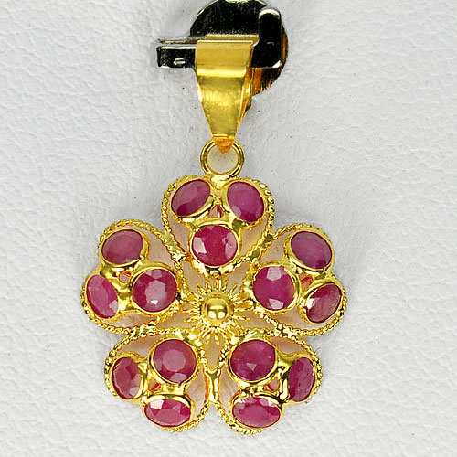 18K Yellow Gold Jewelry Flower Pendant with Natural Purplish Pink Ruby 0.79 G.