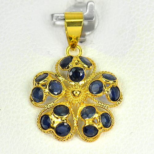 1.39 Ct. Round Shape Natural Gemstones Blue Sapphire 18k Gold Jewelry Pendant