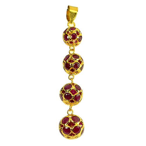 3.29 Ct. Natural Purplish Red Ruby 18k Gold Jewelry Pendant