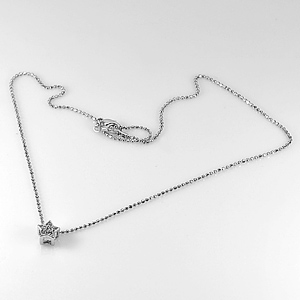 2.26 G. Fashion Jewelry Nickel Rhodium Plated Pendant Necklace Length 15 Inch.