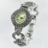 35.00 G. Natural Round Black Marcasite 925 Sterling Silver Jewelry Watch 7 Inch.