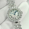 43.01 G.925 Sterling Silver Womens Wristwatch 7 Inch.Round CZ Luxury for Gift
